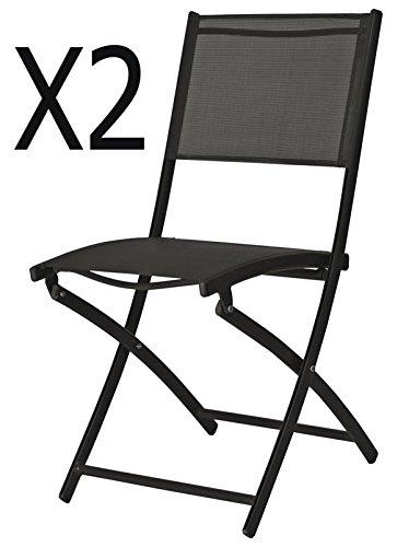PEGANE Lot de 2 chaises de Jardin Pliante en texaline Coloris Blanc Mat - Dim : 41 x 46 x 80 cm