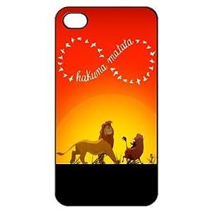 Infinity Roi Lion Hakuna Matata Shell arrière dur Housse Etui pour iPhone 4 4G 4S Cas - Noir / blanc / clair