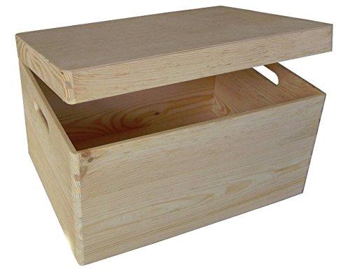 2 x scatola di legno senza disegni con copperchio per deposito di gioccatoli 39.5x 30x 24cm