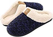 BaronHong Men's Cozy Memory Foam Slippers with Fuzzy Plush Wool-Like Lining,Slip on Clog House Shoes with
