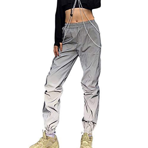 887688c77d4a Greetuny 1pcs Personalidad Harajuku Pantalones Mujer Flash Reflectante  Trousers Ocio Hip Hop Calle Jogger Deportivos Pants (M)