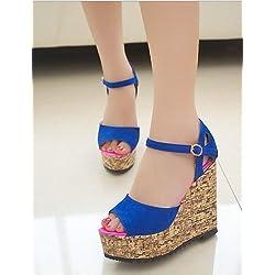 UWSZZ IL Sandali eleganti comfort Scarpe Donna-Sandali-Ufficio e lavoro / Formale / Casual-Spuntate / Plateau / Creepers-Plateau-Finta pelle-Nero / Blu / Rosa , blue-us8 / eu39 / uk6 / cn39 , blue-us8 / eu39 / uk6 / cn39