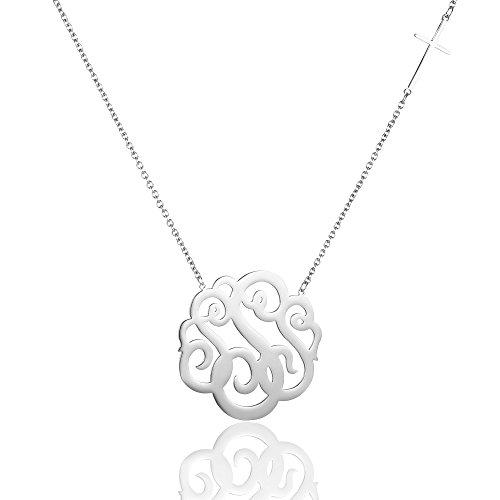 AOLOSHOW Edelstahl Monogramm Halskette mit seitwärts Kreuz, 16+ 5,1cm Extender