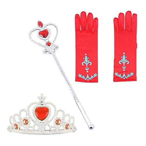 (Prinzessin Zauberstab,Queen Krone,Strass,Tiaras & Handschuh Mädchen Geschenk-Set Prinzessin Karneval Verkleidung Party Cosplay Mädchen Handschuhe Halloween)