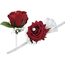 Rosso Rosa Wrist Corsage Bracciale e Boutonniere Set strass nastro fiore matrimonio Prom