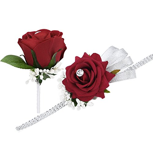 Set di bouquet a braccialetto con rosa rossa e fiore all'occhiello, con nastro e strass, ideale per matrimoni e balli studenteschi