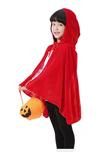 Tiny Time Unisex Kind Halloween Cosplay Kostüm Maskenball Samtumhang Rot
