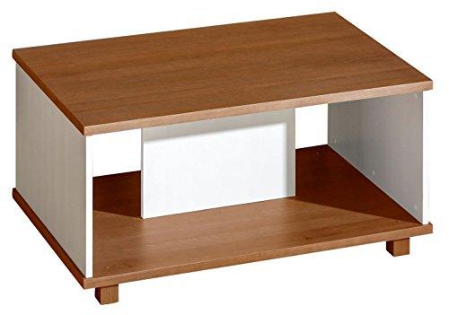 Jugendzimmer - Couchtisch Hermann 11, Farbe: Weiß gebleicht/Nussfarben, massiv - 110 x 70 x 56 cm (B x T x H)
