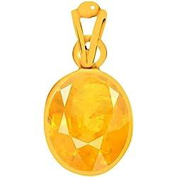 AKSHAY GEMS 7.25 Ratti Certified Yellow Sapphire Pendant / Locket ( Pukhraj stone Panchadhatu Pendant ) 100% Original AAA Quality Gemstone For Mens&Womens