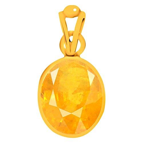 AKSHAY GEMS 11.25 Ratti Yellow Sapphire Pendant / Locket ( Pukhraj stone Panchadhatu Pendant ) 100% Original Quality Gemstone For Mens&Womens