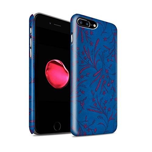 STUFF4 Matte Snap-On Hülle / Case für Apple iPhone 8 Plus / Rosa/Orange Muster / Weizen Blümchenmuster Kollektion Blau/Rosa