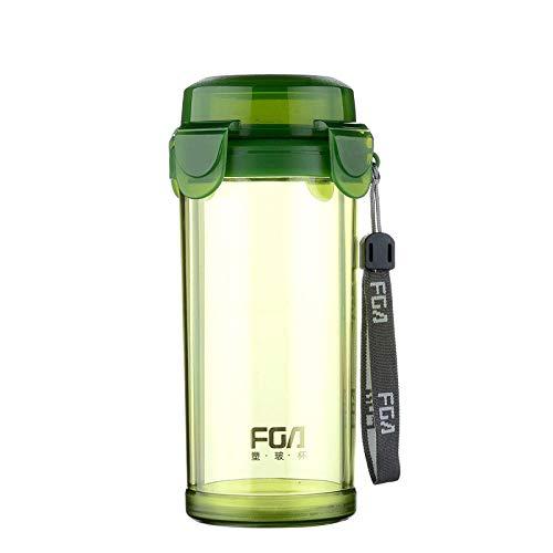 Yiszj tazza bicchieri mug bicchiere di vetro a doppio strato con coperchio filtro tazza di tè tazza di acqua trasparente resistente al calore @ verde