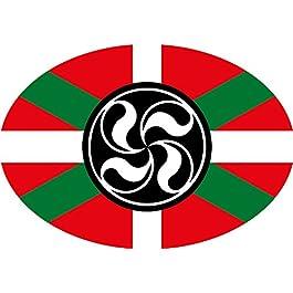 Adesivo Bandiera Ovale con Lauburu Euskadi