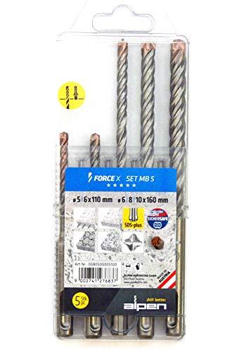 Alpen, SDS Plus Bohrerset 5, 6, 8, 10mm vierschneidig, FORCE-X, für Stahlbeton, Mauerwerk, Stein Force 8