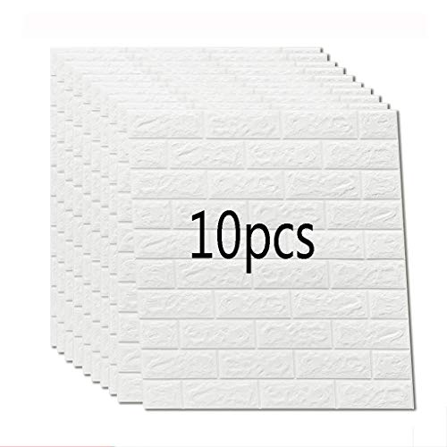 K&F-qianzhi 10PCS 70X77cm Papel Pintado De Ladrillo Blanco, Panel De Pared  3D Ladrillo PE Espuma DIY Pegatinas De Pared Papel Pintado Autoadhesivo