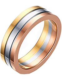 Asma Stainless Steel Trinity Ring Tri Color Gold Silver Rose Ring For Women/Girls
