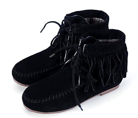 DADAWEN Women's Lace-Up Moccasins Fringe Tassels Ankle Biker Boots-Black UK 5