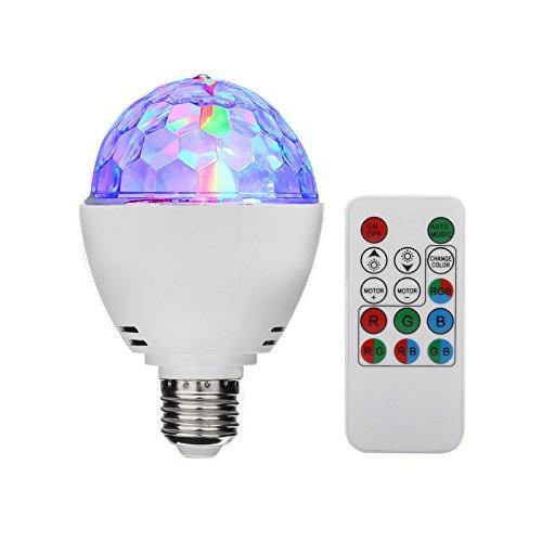 TSSS® E27 RGB LED Mini Ball Drehender Kristall Bühnenlicht Disco Hause Familie Partei Club Bar DJ Pub Hochzeit Fernbedienung Birne Glühlampen (1 Stück) (Flache Stabilität Ball)