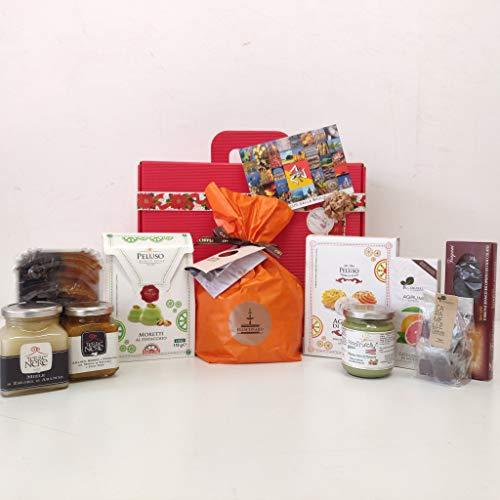 Food in sicily hyblea, confezione regalo natalizia con prodotti tipici siciliani