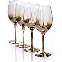 Juego de 4 copas de vino doradas con tono sombreado