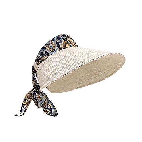 Leisial Mujeres Sombrero del Sol Grande Ala Playa Paja Anti-UV Plegable Sombrero de Visera para Viajar Casquillo al Aire Libre del Verano,Caqui
