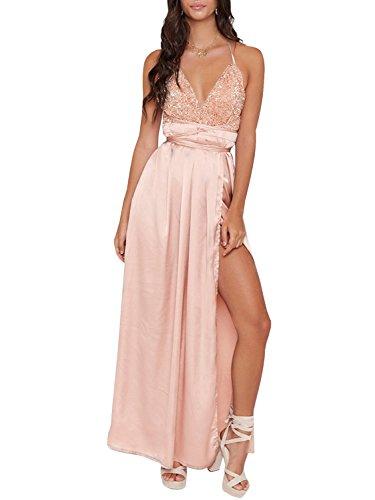 Missy Chilli Damen Lang Kleid Sexy V-Ausschnitt Rückenfrei Pailletten Satin Maxi Kleid Partykleid...