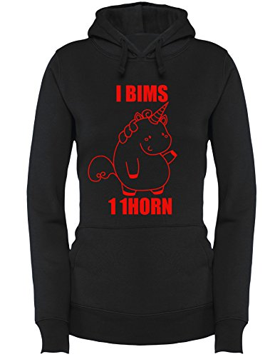 I bims 1 Einhorn -1horn - Damen Hoodie Schwarz/Rot