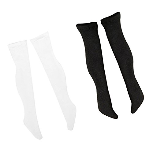 MagiDeal 2 Paar 1/6 Skala Strümpfe Socken für 12 Zoll weiblichen Action Figur Körper ( Weiß + Schwarz ) (Cm Action-figur-puppen 12)