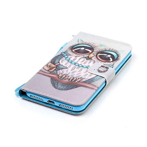 Owbb Carillon de vent de hibou PU cuir Housse de protection coque pour iPhone 7 Plus (5.5 Pouces) étui cover case Color 11