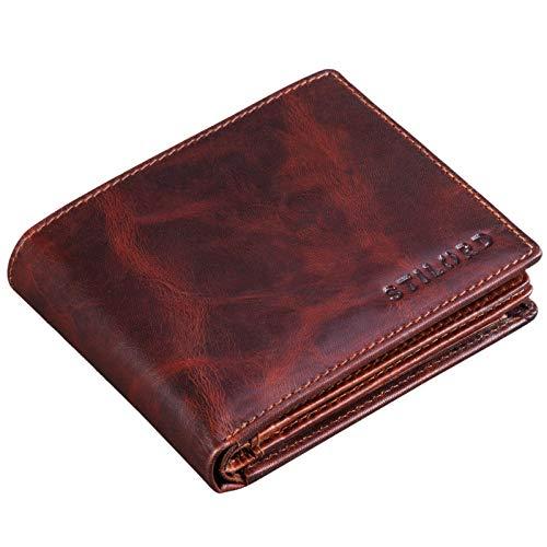 Stilord 'guillermo' portafoglio uomo con blocco rfid in vera pelle portafogli cuoio piccolo sottile con portamonete, colore:milano - marrone