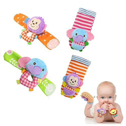 1 PC-Tierbaby Wrists Rattle und Socken Entzückende weiches Plüsch-Spielzeug Lustige Hände und Füße Entdeckung Rasseln frühe pädagogische Entwicklung Spielzeug-Geschenk für Baby (Elefant und Affe) - Audio-entdeckung