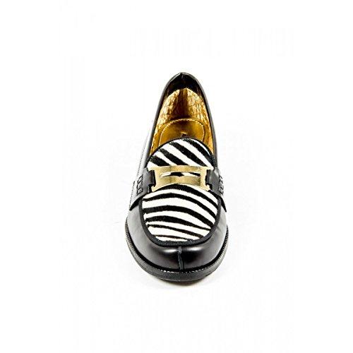 Avec Modération Womens Loafer FRIDA ANTHRACITE ZEBRA Multicolore