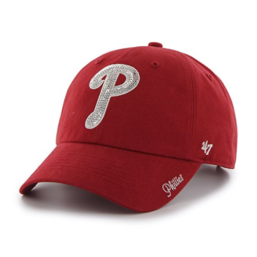 mlb-philadelphia-phillies-womens-sparkle-team-color-clean-up-adjustable-hat-red-one-size
