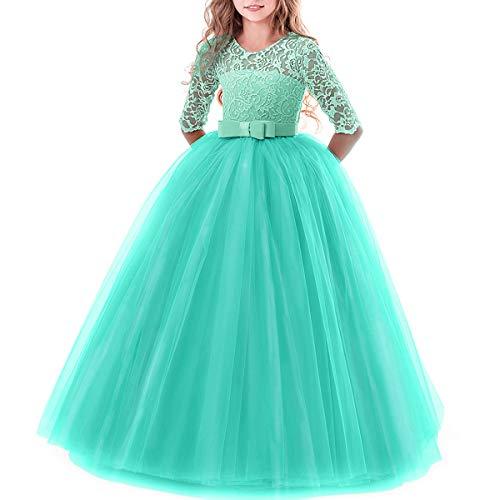 Mädchen Kinder Festlich Kleid Anlässe Partykleider Festzug 3/4 Arm Spitzenkleid Tüllkleid Erstkommunion Abendkleid Grün 11-12 Jahre ()