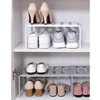 YSHUO Storage Organizer Adjustable Kitchen Storage Rack Cupboard Shelf Single Layer Kitchen Wardrobe Shoe Saving Space
