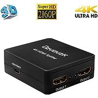 Ozvavzk HDMI Splitter,4k HDMI 1x2 Adaptadores 1 Entrada 2 Salida Duplicador Full HD 2160p 3D HDMI Amplificador Soporte HDMI 1.4 Versión HDCP.