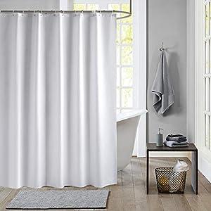 Meiosuns Duschvorhang Weiß Peva Wasserdicht und Mildewproof Duschvorhänge Wohnaccessoires mit Rostschutz Ösen und Vorhang Haken (Weiß, 200×240cm)