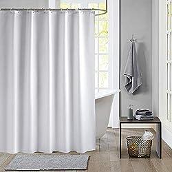 Meiosuns Rideau de Douche Blanc Peva imperméable et Anti-moisissure Rideaux de Salle de Bain avec œillets et Crochets Anti-Rouille (Blanc, 200×240cm)