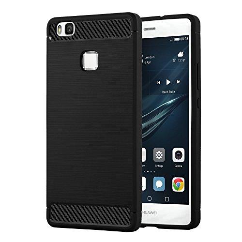 Preisvergleich Produktbild Cadorabo DE-104044 Huawei P9 LITE Handyhülle aus TPU Silikon in Edelstahl-Karbonfaser Optik Ultra Slim Soft Back Cover Case Bumper Brushed Schwarz
