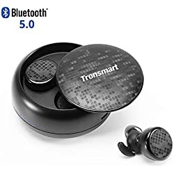 Auriculares Bluetooth Inalámbricos 5.0, Tronsmart TWS Auriculares Bluetooth Deportivos Estéreos con Micrófono, IPX5 Impermeable Teclas Táctiles y CVC 6.0 Cancelación de Ruido para iPhone y Android