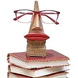 """Store Indya, Peculiar hecho a mano """"nariz en forma de"""" sostenedor del soporte de palo de rosa Gafas de sol"""