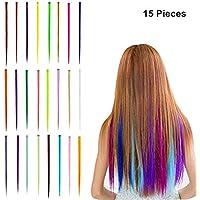 6 Stück Haarsträhnen 6 Farben Strähnchen Kinder Mädchen Mitgebsel Geburtstag
