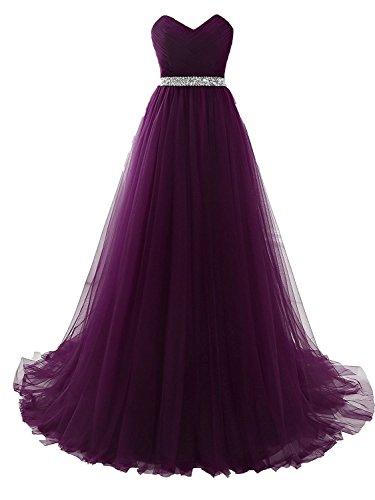 Clearbridal Damen Tüll Bandeau Lang Abendkleid Ballkleid Abschlusskleid Prinzessin SQS16422 Violett...