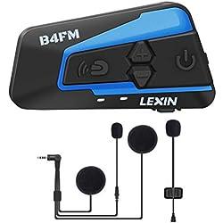 LEXIN LX-B4FM 1-4 Motards Intercom Moto Bluetooth avec FM Radio Écouteur Moto, Casque Communication Systèmes Bluetooth Anti Bruit Portée 1 Mile pour Casque Motocycle/Motocyclette