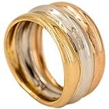 PRIORITY Bague en or 18 carats avec or jaune, or blanc et or rose, bague pour femme, bague avec zircons, bague 18 carats