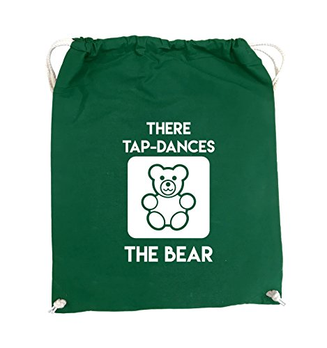 Comedy Bags - THERE TAP DANCES THE BEAR - Turnbeutel - 37x46cm - Farbe: Schwarz / Pink Grün / Weiss