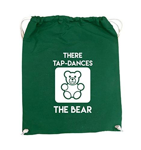 Comedy Bags - THERE TAP DANCES THE BEAR - Turnbeutel - 37x46cm - Farbe: Schwarz / Silber Grün / Weiss