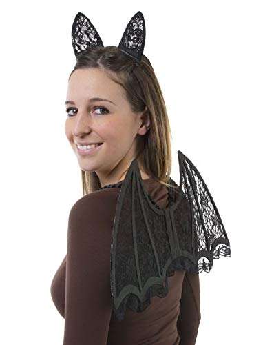 costumebakery - Kostüm Accessoires Zubehör Fledermaus-Set mit Flügeln aus Spitze und Ohren Hörnern, Bat Set Lacy Wings and Ears Horns, perfekt für Halloween Karneval und Fasching, (Fledermaus Kostüme Accessoires)