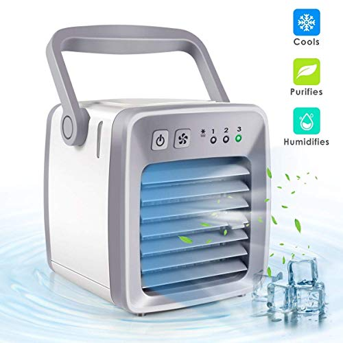 ACZZ Kühler Mini-Klimaanlage, 3 Geschwindigkeiten Tragbare Mini-Luftkühler Luftbefeuchter Luftreiniger Geräuschlose Klimaanlage Lüfter Schlafzimmer Pet Office-White 5.1X5.1X6.7In,Weiß,5,1 * 5,1 * 6,7 (Pet-cool Klimaanlage)