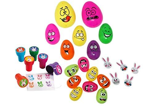 Ostereier mit lustigen Gesichtern, Kunststoff, 15 Stück (Große Kunststoff-ostereiern Füllen)